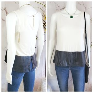 NWT! ASOS SIS SIS peplum shaped top faux leather